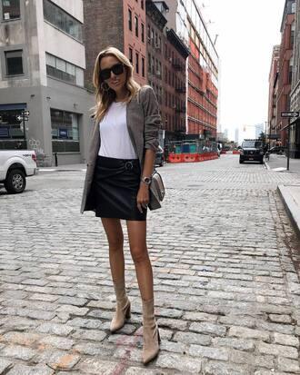 shoes black skirt tumblr boots nude boots skirt mini skirt leather skirt black leather skirt t-shirt white t-shirt blazer grey blazer