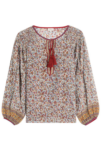blouse tunic silk multicolor top