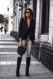 fashionedchic,blogger,top,jeans,jacket,shoes,bag,black blazer,blazer,boots,black boots,spring outfits