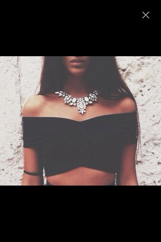 top diamonds diamond necklace off shoulder crop top crop tops bralette classy girly grunge black black crop top black top jewels necklace