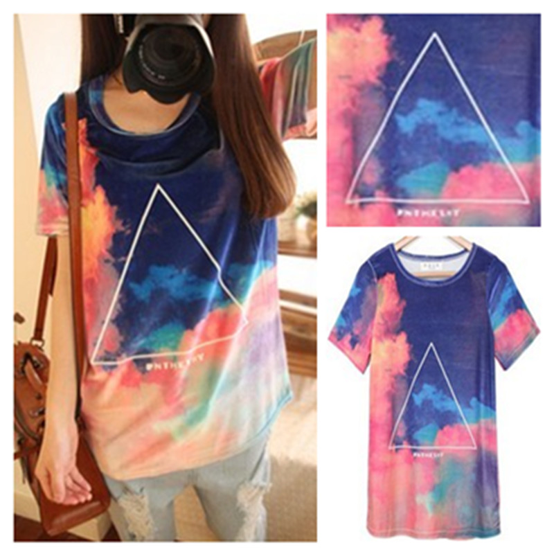 Vintage HARAJUKU gradient triangle tie dyeing ice cream T shirt short sleeve tee on Aliexpress.com