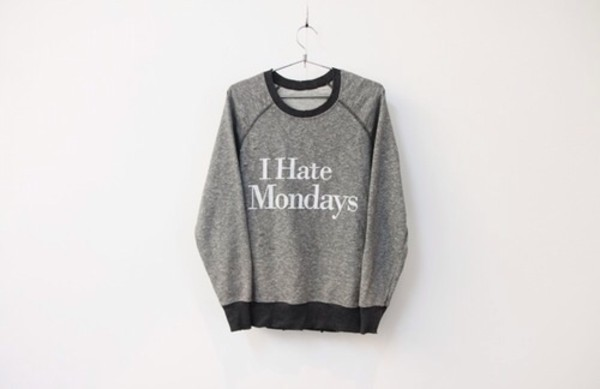 sweater grey hipster mondays monday tank top grey sleep