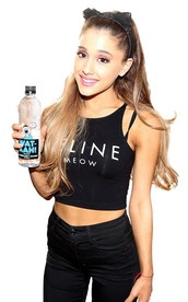top,crop tops,ariana grande,pants,feline,t-shirt,hair accessory,black crop top