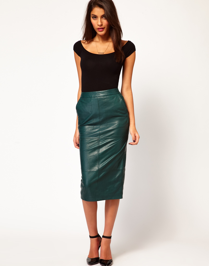 Green Pencil Skirt in Leather