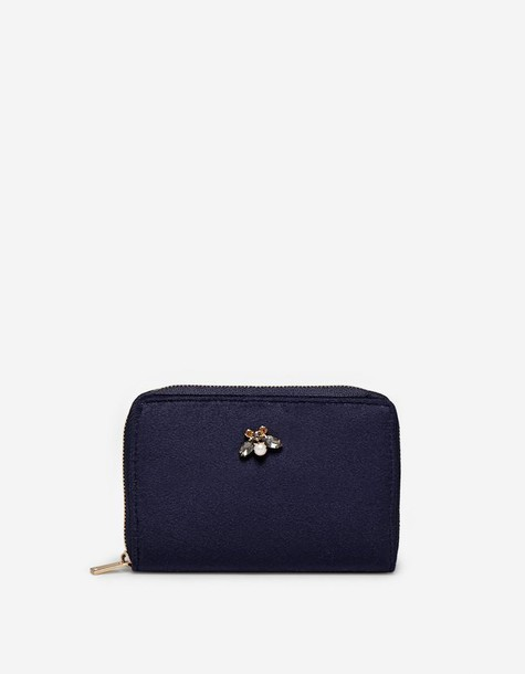 Stradivarius zip embellished purse navy blue bag