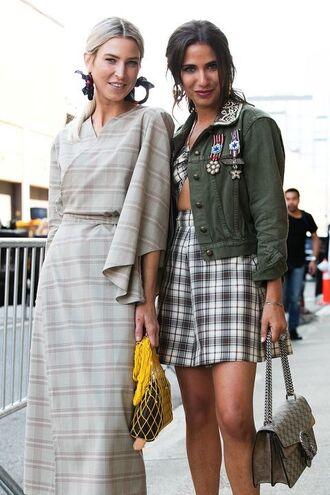 skirt plaid skirt plaid plaid mini skirt jacket army green jacket dress plaid dress streetstyle bag net bag earrings