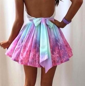 skirt colorful dress bow rainbow