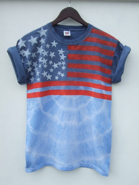 shirt usa flag stars stripes tie dye t-shirt tappingtonandwish american flag