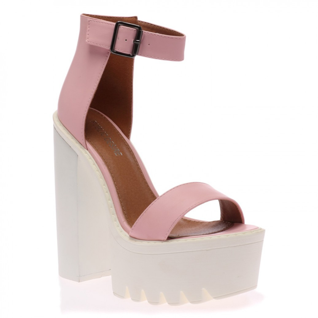 Jessi pink cleated sole platform shoes
