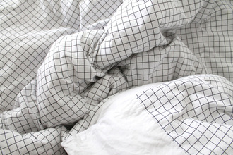 home accessory black white checkered pale bedding
