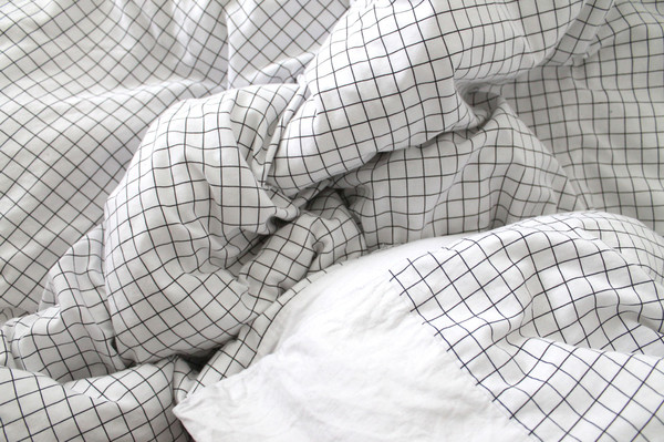 home accessory black white checkered pale bedding