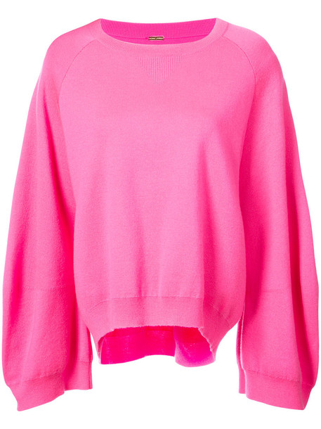 Adam Lippes - oversized sleeve sweatshirt - women - Merino - XS, Pink/Purple, Merino