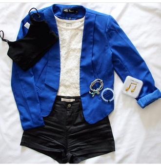fashion blazer blue shirt shorts leather jacket lace dress