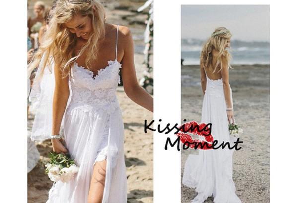 dress white lace dress lace prom dress lace wedding dress spaghetti straps dress split front beach wedding dress beach wedding dress