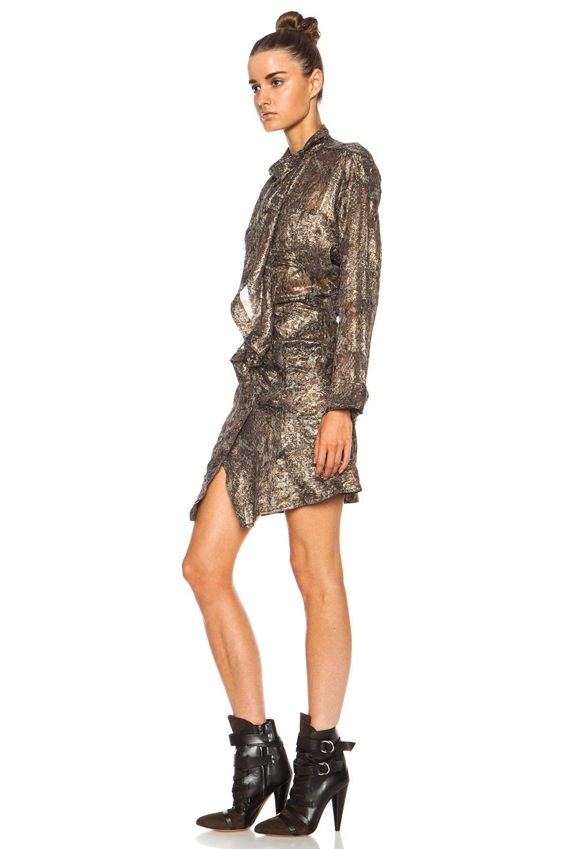 Pasadena lurex georgette dress in ochre