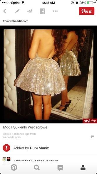 backless dress glitter dress