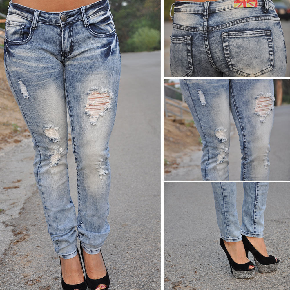Acid Wash Light Blue ripped Skinny Jeans by Machine Jeans DMP-1A1146JS