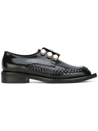metal women plastic formal shoes leather black