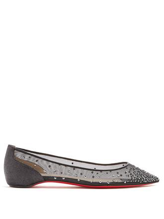 mesh embellished flats black shoes