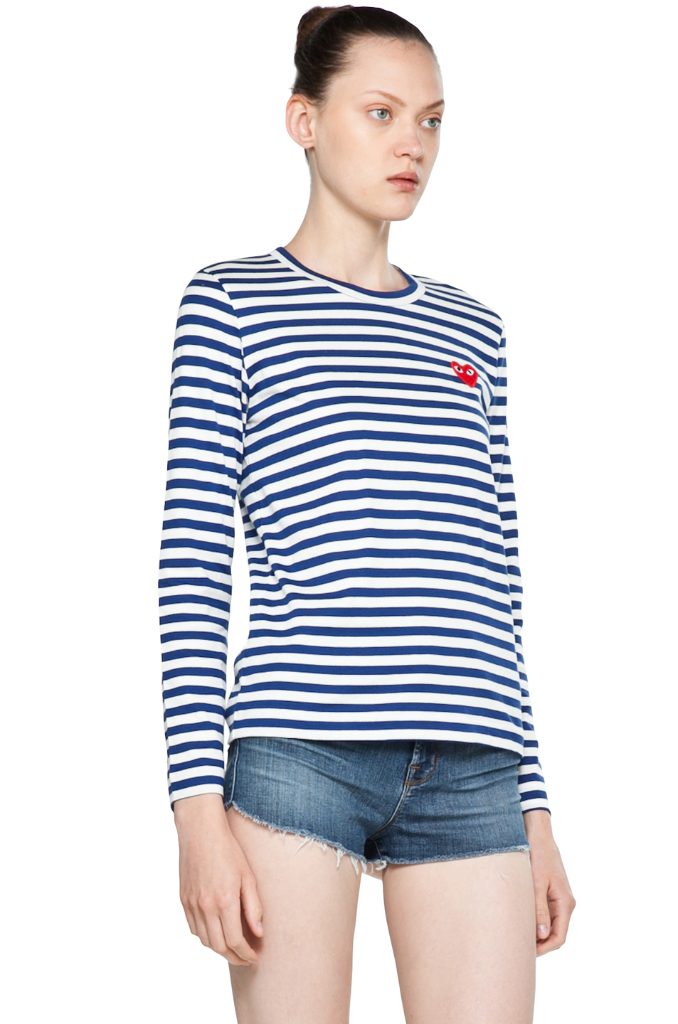 Comme Des Garcons PLAY|Striped Cotton Red Heart Tee in Royal Blue