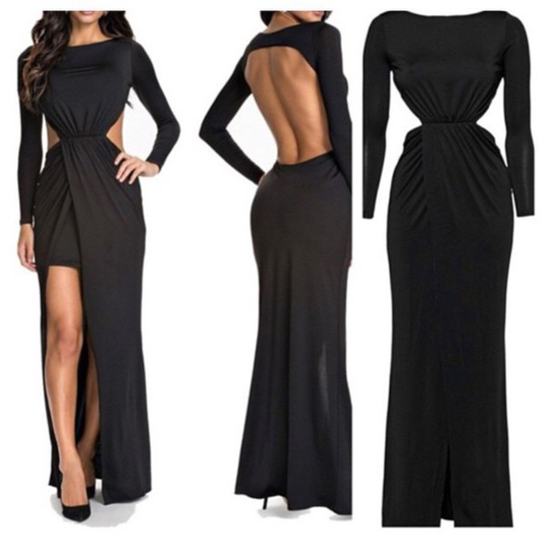 dress black split dress black dress