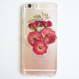 FREE SHIPPING - The roses and baby breath pressed flower bumper phone case (バラと赤ちゃんの呼吸押し花電話ケース)