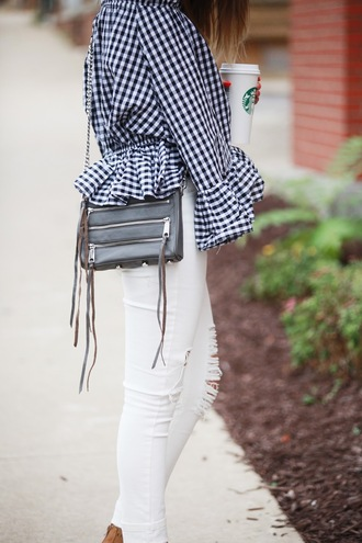 fashionably kay blogger gingham white ripped jeans black leather bag ruffle ruffled top