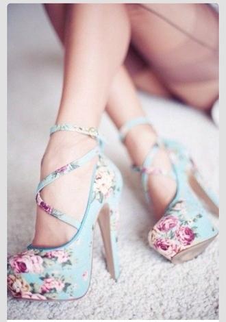 shoes high heels light blue pastel pink floral