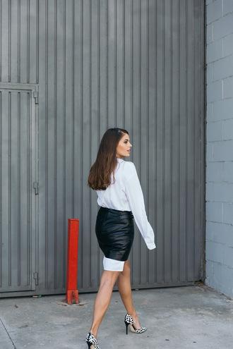 skirt tumblr black leather skirt leather skirt mini skirt black skirt shirt white shirt pumps pointed toe pumps high heel pumps leopard print black and white