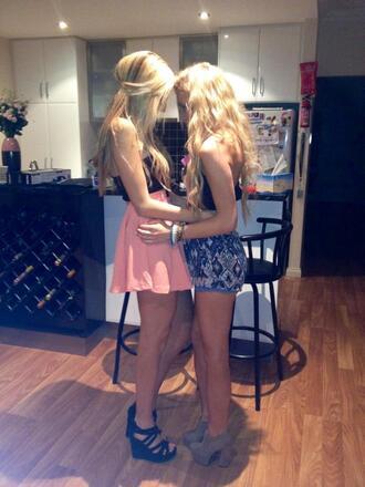 shoes blue wedges pink dress blue dress cute tall blonde hair heels dance dress nude heels wedge heels