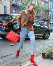 shoes,red boots,high heels boots,cropped jeans,tommy hilfiger,sweater,handbag,retro sunglasses
