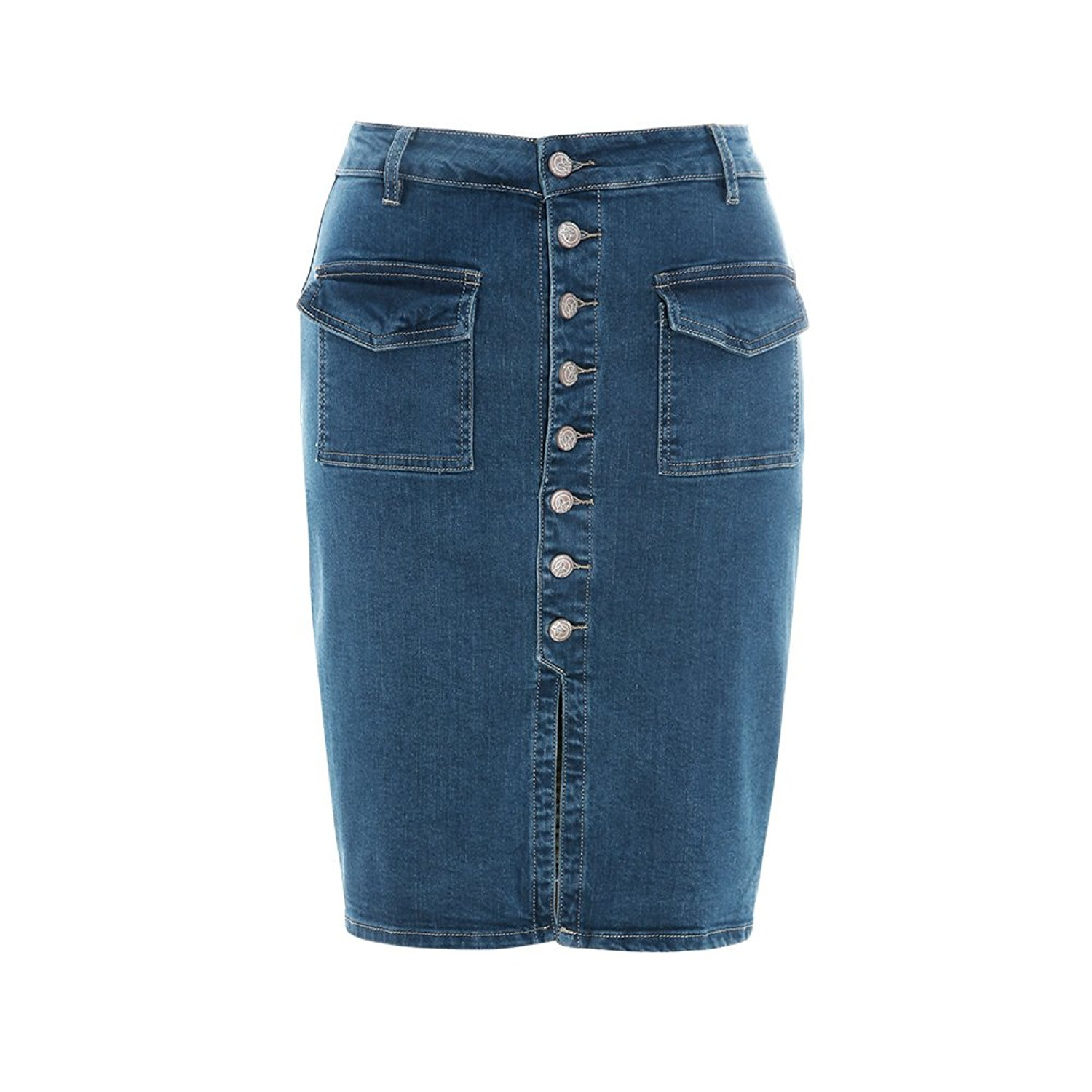 Women's High Waist Distressed Button Front Denim Skirt knee Length ...