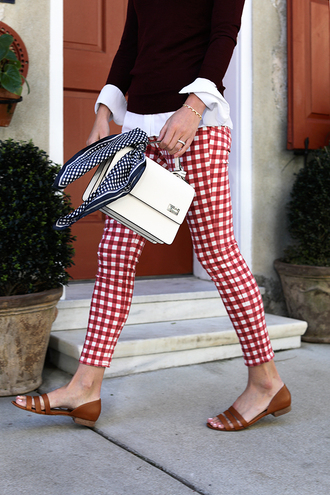 pants gingham tumblr red pants shoes flats sandals flat sandals bag white bag