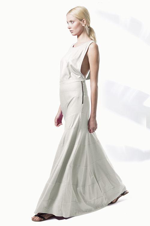Fuchsia silk noil tiered gown