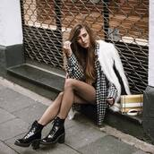 shoes,tumblr,black boots,thick heel,block heels,patent shoes,patent boots,shirt,checkered,coat,fur coat,white coat,bag,yellow bag,chain bag,ankle boots