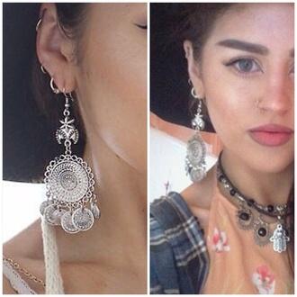 jewels earrings silver dangle coin