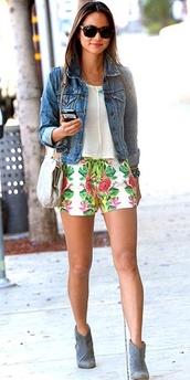 shorts,floral,flowered shorts,floral denim,jeans,denim shorts,denim jacket,sunglasses,jamie chung,booties,grey booties,white shirt,soft shirt,bold print,bold shorts,summer,spring,spring outfits,jacket