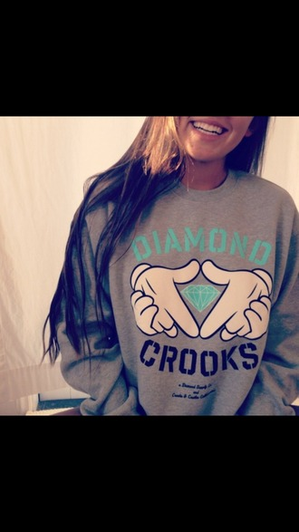 sweater diamonds crooks hoddie grey blue white fashion streetstyle gloves tumblr outfit