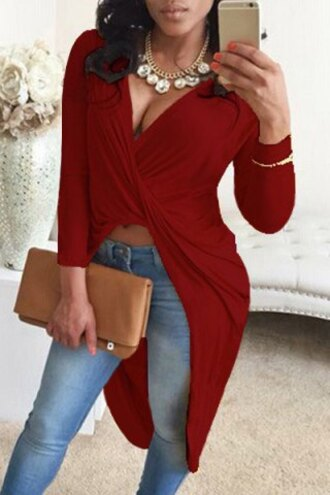 blouse red summer fashion boho rose wholesale burgundy high low dress
