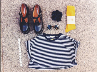 shoes black vintage retro school shoe mariniere lemongrass round sunglasses t-shirt underwear