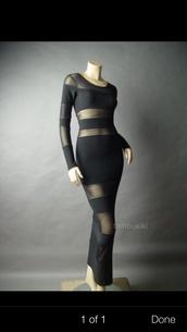 dress,sheer,maxi dress,black maxi dress long sleeve,nude,lingerie,diamonds,jewels,bra,undies