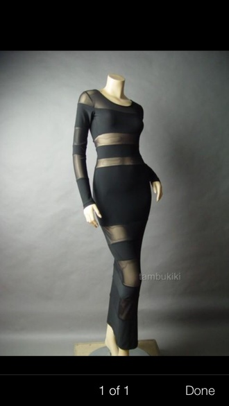 dress sheer maxi dress black maxi dress long sleeve nude lingerie diamonds jewels bra undies
