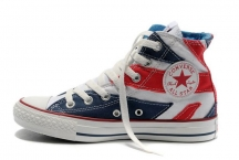 2012 converse uk flag london olympic commemorative edition blue red high tops canvas all star shoes [126508c]