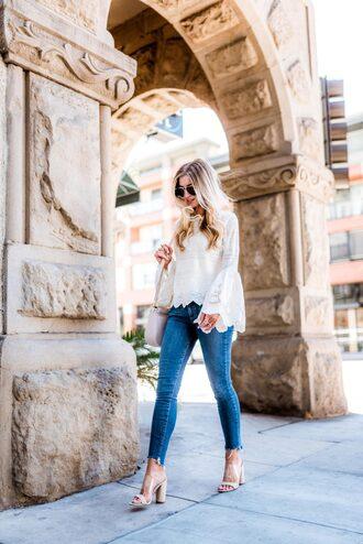 blouse white blouse top white top crochet top crochet denim jeans blue jeans skinny jeans shoes sandals mules transparent sunglasses spring outfits