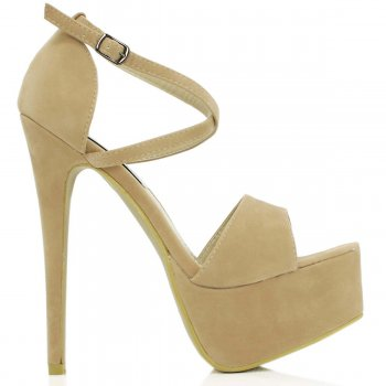 Buy GORGE Stiletto Heel Platform Shoes Nude Suede Style Online