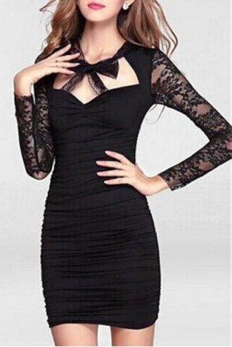 dress lace black sexy bow party fashion style fall outfits long sleeves feminine