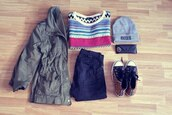 shoes,jacket,hipster,top,sweater,jumper,pullover,aztec,hat,beanie,grey,studded,leopard print,animal prit,chuck taylor all stars,vans,hot cute