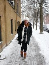 kristinadoestheinternets,blogger,coat,sweater,shirt,leggings,hat,socks,shoes,bag,beanie,duck boots,winter coat,winter outfits,winter boots