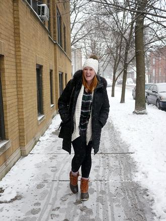 kristinadoestheinternets blogger coat sweater shirt leggings hat socks shoes bag beanie duck boots winter coat winter outfits winter boots