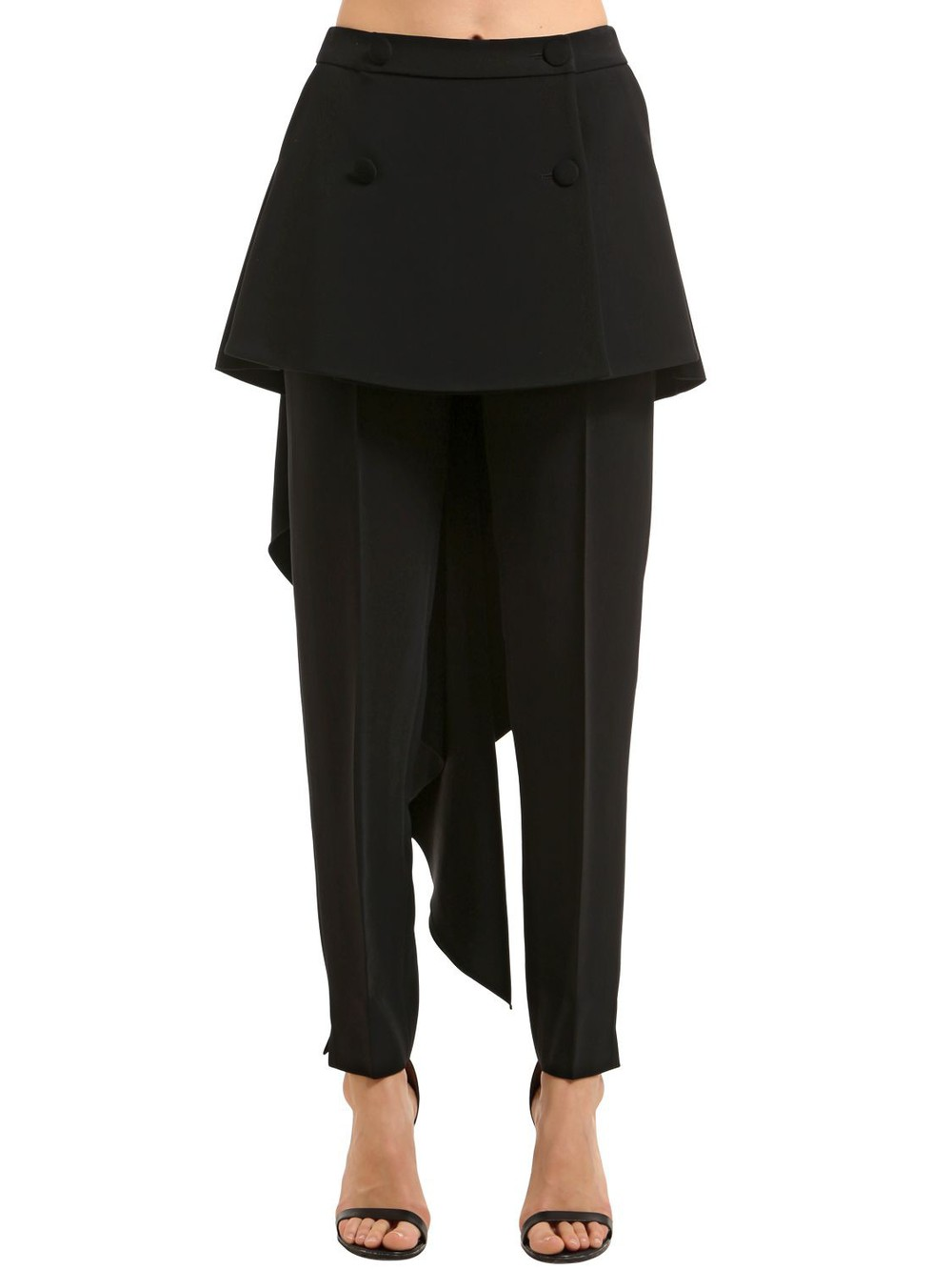 ANTONIO BERARDI Stretch Cady Pants W/ Skirt Panels in black